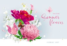 Red pink summer flowers bouquet Stock Photo
