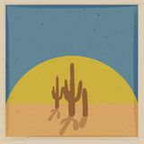 Vintage vector card with cactus Royalty Free Stock Images