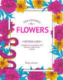 Vintage vector card. With hand drawn flowers and blooming brunches. Template for your design Stock Images