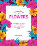 Vintage vector card. With hand drawn flowers and blooming brunches. Template for your design Royalty Free Stock Photo