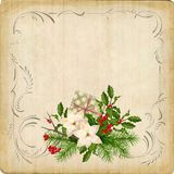 Vintage Christmas Card. Vintage vector card with holiday composition of the Christmas decorations and retro border frame Stock Images