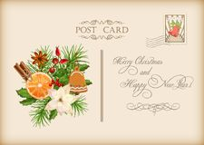 Vintage Christmas Card. Vintage vector card with holiday composition of the Christmas decorations Royalty Free Stock Images