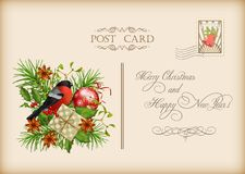 Vintage Christmas Card. Vintage vector card with holiday composition of the Christmas decorations Stock Images