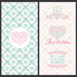 Vintage vector card templates. Wedding married Stock Photos