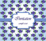 Vintage Vector Card with Watercolor blue roses flower frame Stock Photo