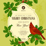Vintage vector card. We Wish You A Very Merry Christmas And Happy New Year. A bird on a branch of holly Royalty Free Stock Photos