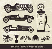 Vintage vector cars. Vector racing cars in 1920-1940 style Stock Photo