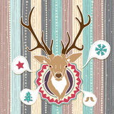 Vintage vector Christmas card with Deer. Cold Pastel colors Stock Photos
