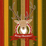 Vintage vector Christmas card with Deer Stock Photography