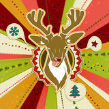Vintage vector Christmas card with Deer showing his tongue Stock Photos