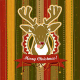 Vintage vector Christmas card with Deer showing his tongue Stock Photo