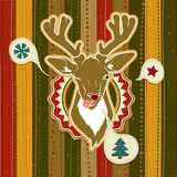 Vintage vector Christmas card with Deer showing his tongue. Illustration of Vintage vector Christmas card with Deer showing his tongue Royalty Free Stock Photography