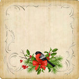 Vintage Vector Christmas Card. Vintage vector card with holiday composition of the Christmas decorations, bird bullfinch, bow, decorative border frame Royalty Free Stock Image
