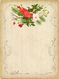 Vintage Vector Christmas Card. Vintage vector card with holiday composition of the Christmas decorations, bird, decorative border frame Royalty Free Stock Photography