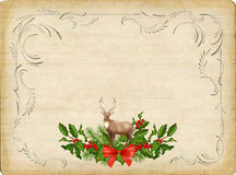 Vintage Vector Christmas Card. Vintage vector card with holiday composition of the Christmas decorations, deer, decorative border frame Royalty Free Stock Images