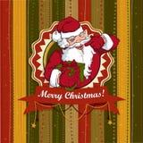 Vintage vector Christmas card with Santa Claus. Vector illustration of Vintage Christmas card with Santa Claus Stock Photo
