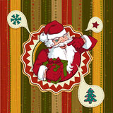 Vintage vector Christmas card with Santa Claus Stock Photography