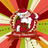 Vintage vector Christmas card with Santa Claus Stock Photo