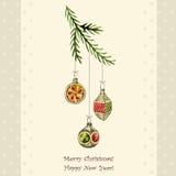 Vintage vector Christmas card Stock Photos