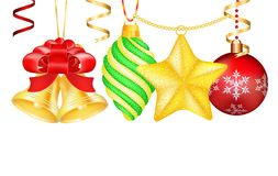 Vintage vector Christmas 3d decoration toys Stock Photo