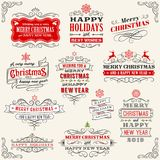 Vintage Vector Christmas labels. Vector Christmas labels with `Merry Christmas and Happy new year` variations. The art is fully layered for ease of editing royalty free illustration