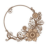 Vintage vector circle frame with floral elements, card design Stock Images