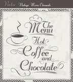 Vintage Vector coffee an chocolate menu Stock Image