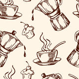 Vintage vector coffee seamless pattern Royalty Free Stock Photos
