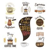 Vintage vector coffeeshop logo text labels and coffee drink love quote ribbon logo coffeebeans badges calligraphy break. Typography lettering Royalty Free Stock Photography