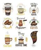 Vintage vector coffeeshop logo text labels and coffee drink love quote ribbon logo coffeebeans badges calligraphy break. Typography lettering Royalty Free Stock Photos