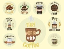 Vintage vector coffeeshop logo text labels and coffee drink love quote ribbon logo coffeebeans badges calligraphy break. Typography lettering Stock Illustration
