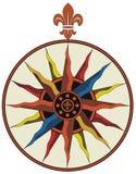 Vintage vector compass with fleur-de-lis stock illustration