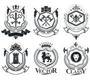 Vintage vector design elements. Retro style labels, heraldry. Co Royalty Free Stock Photography