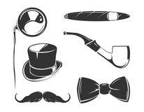 Vintage vector elements for tobacco, gentlemen club emblems, labels, badges Royalty Free Stock Images