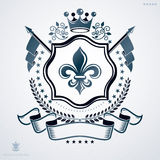 Vintage vector emblem made in heraldic design with royal crown Royalty Free Stock Images