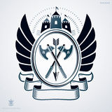 Vintage vector emblem made in heraldic design with wings, armory Royalty Free Stock Images