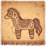Vintage vector ethnic horse illustration. Can be used as a greeting card Royalty Free Stock Photo