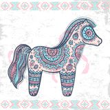 Vintage vector ethnic horse illustration. Can be used as a greeting card Royalty Free Stock Photography
