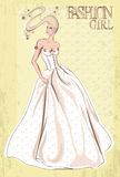 Vintage vector fashion woman. Retro Bride Royalty Free Stock Image