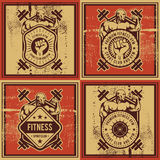 Vintage vector fitness and gym badge Stock Photography