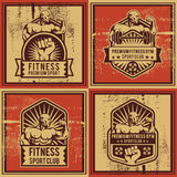Vintage vector fitness and gym badge Royalty Free Stock Photos