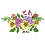 Vintage vector floral composition. With flowers, buds and leaves of red roses and yellow narcissus, imitation of engraving, hand drawn design element Stock Photo