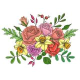 Vintage vector floral composition. With flowers, buds and leaves of red roses and yellow narcissus, imitation of engraving, hand drawn design element Stock Photography