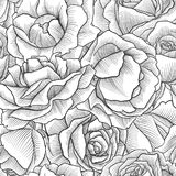 Vintage vector floral seamless pattern. With rose flowers, imitation of engraving, hand drawn background Royalty Free Stock Photography