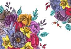 Vintage vector floral composition Stock Images