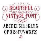 Vintage vector font. Hand drawn vintage vector ABC letters.Nice font for your design stock illustration