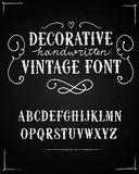 Vintage vector font. Hand drawn decorative vintage vector ABC letters on blackboard background .Nice font for your design royalty free illustration