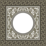 Vintage vector frame with pastel colors and decorative floral el. Vintage background frame with floral elements, circle frame and elegant ornament Royalty Free Stock Images