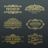 Vintage Vector Golden Banners Labels Frames. Stock Photography
