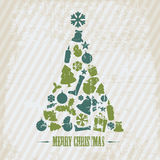 Vintage Vector Grunge Christmas tree Royalty Free Stock Images